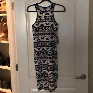 Cotton midi dress, Aztec print